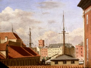 I 1868 malede Krøyer udsigten fra familiens lejlighed på 1. sal i Strandgade 30.Asiatisk Kompagnis bygning skimtes til højre, i baggrunden husene i Havnegade, og i midten ses Nikolaj Kirkes tårn, det eneste af kirken der stod tilbage efter branden i 1795.
