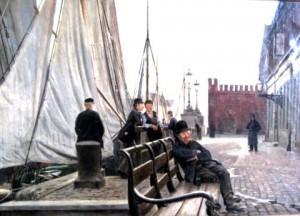 B&W broen 1890 maleri.Billedet er af Ole Pedersen (1856 til 1898) og formodentlig malet omkring1890.